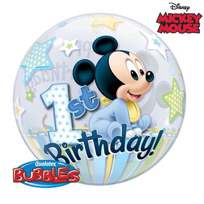 22 Inch Mickey Mouse 1st Birthday Bubble Balloon