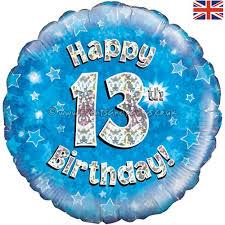 18 Inch Happy 13th Birthday Blue Foil Balloon