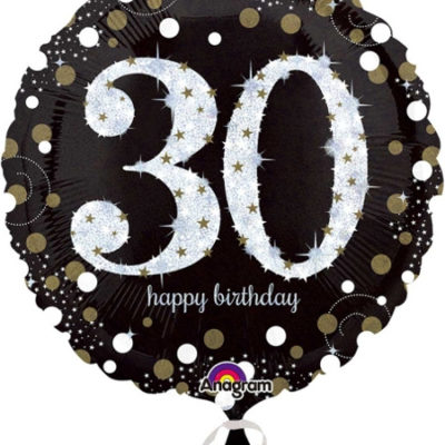buy 30th Black and Gold Sparkles Foil Balloon