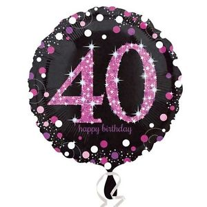 buy 40th Pink and Black Foil Balloon