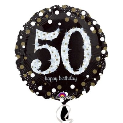 buy 50th Black and Gold Sparkles Foil Balloon