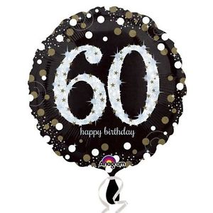 buy 60th Black and Gold Sparkles Foil Balloon