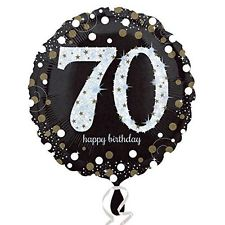 buy 70th Black and Gold Sparkles Foil Balloon