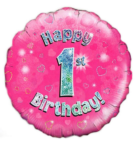 Buy 18 Inch Happy 1st Birthday Pink Foil Balloon