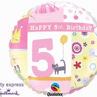 5th Birthday Girl Foil Balloon