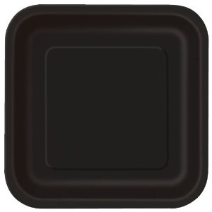 Black Party Square Plates ... & Black Party Square Plates 14 pk | Buy Helium Balloons delivery ...