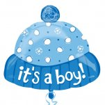 buy 18 inch Its A Boy Hat helium foil balloon
