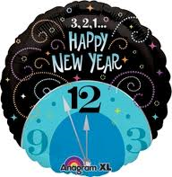 buy Happy New Year Blue Clock Foil Balloon