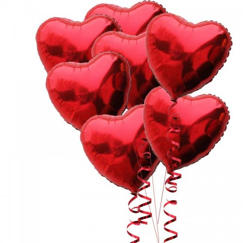 red heart foil 7 balloon bouquet(inflated) – buy helium balloons, Ideas