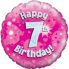 buy 18 Inch Happy 7th Birthday Pink Foil Balloon