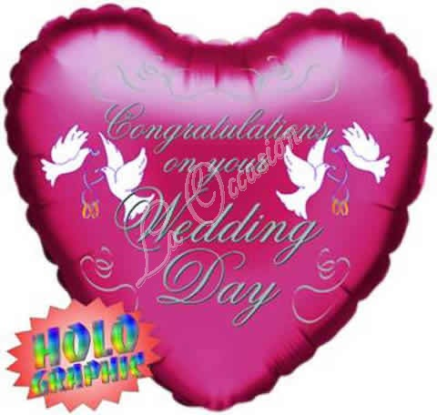 congratulations on your wedding day red holographic foil balloon, Ideas