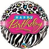 buy Happy Birthday Stripes and Patterns Foil Balloon