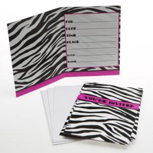 buy 8 Zebra Invitations with envelopes