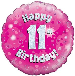 buy 18-Inch Happy 11th Birthday Foil Pink