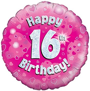 buy 18 Inch Happy 16th Birthday Pink Foil