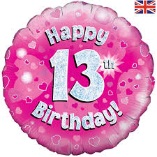buy 18 inch Happy 13th Birthday Pink Foil Balloon