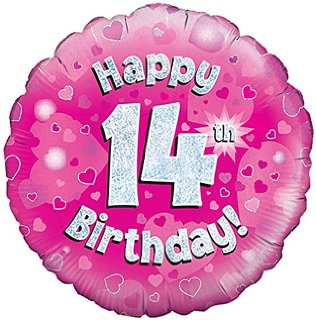 buy 18 inch Happy 14th Birthday Pink Foil Balloon