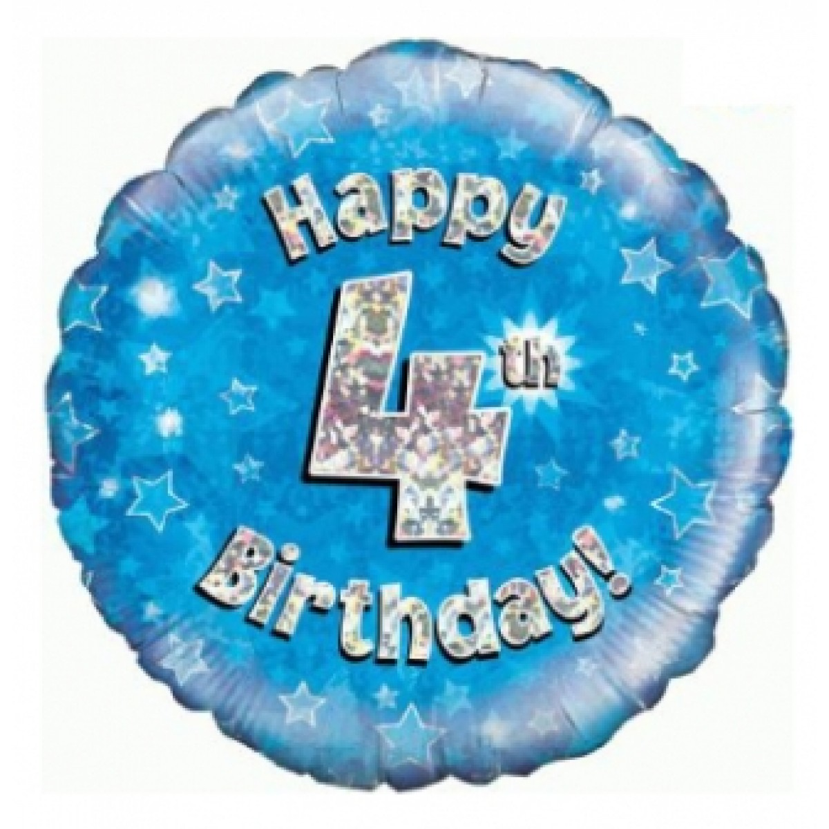 Buy 18 Inch Happy 4th Birthday Blue Foil Balloon