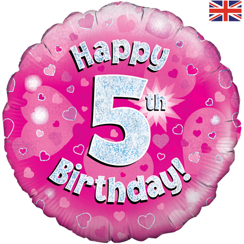 Buy 18 Inch Happy 5th Birthday Pink Foil Balloon