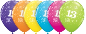 buy Age 13 Asstorted Colour 11'' Latex Balloons 6pk