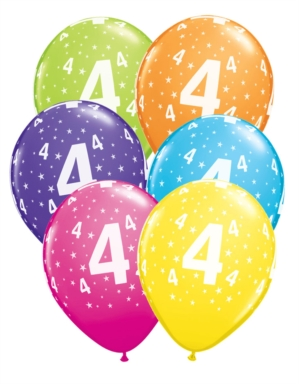 buy Age 4 Asstorted Colour 11'' Latex Balloons 6pk