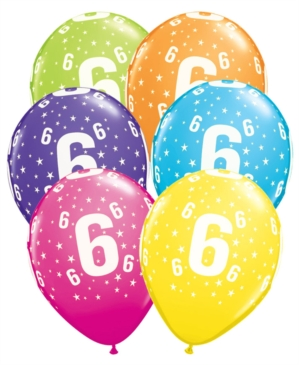 buy Age 6 Asstorted Colour 11'' Latex Balloons 6pk