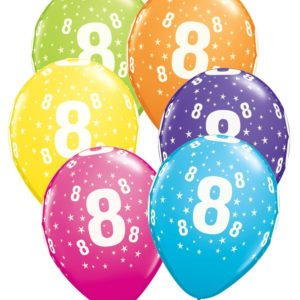 buy Age 8 Asstorted Colour 11'' Latex Balloons 6pk