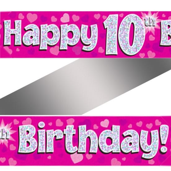 Holographic Happy 10th Birthday Banner