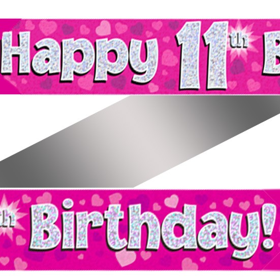 Buy Holographic Happy 11th Birthday Banner