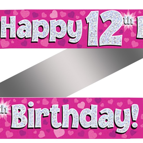 Buy Holographic Happy 12th Birthday Banner