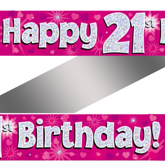 Holographic Happy 21st Birthday Banner