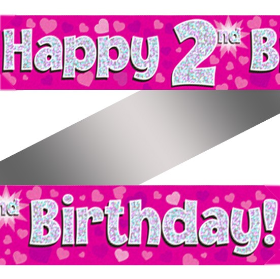 Buy Holographic Happy 2nd Birthday Banner
