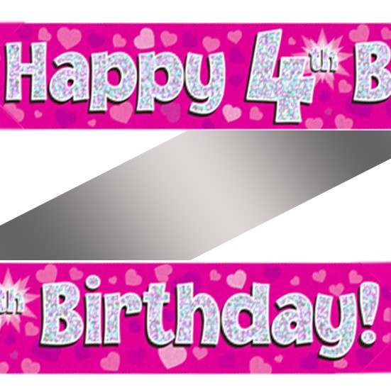 Buy Holographic Happy 4th Birthday Banner
