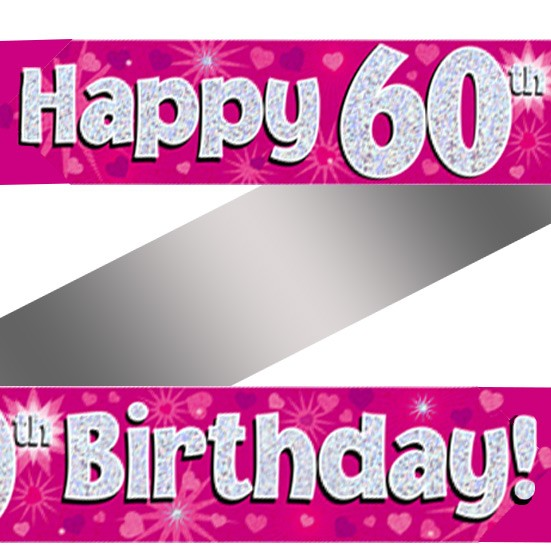 Holographic Happy 60th Birthday Banner