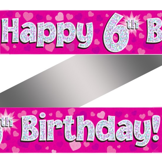 Buy Holographic Happy 6th Birthday Banner