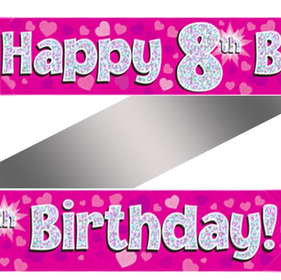 Buy Holographic Happy 8th Birthday Banner