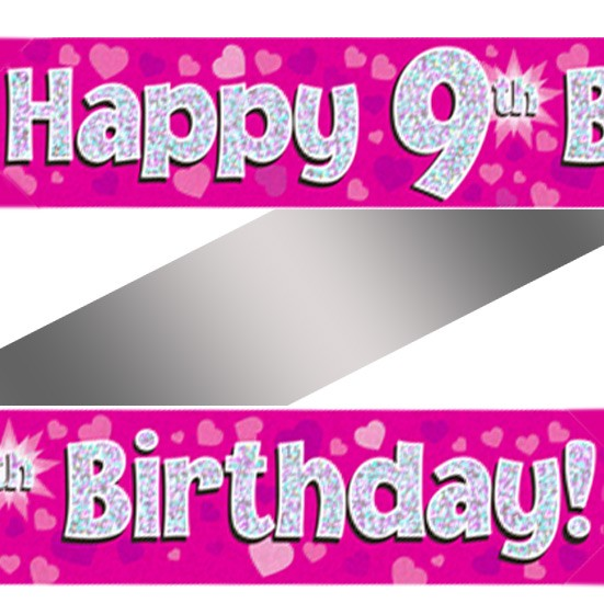 Buy Holographic Happy 9th Birthday Banner