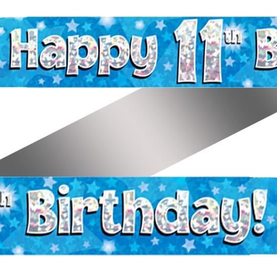 Holographic Happy 11th Birthday Banner