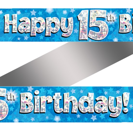 Buy Holographic Happy 15th Birthday Banner