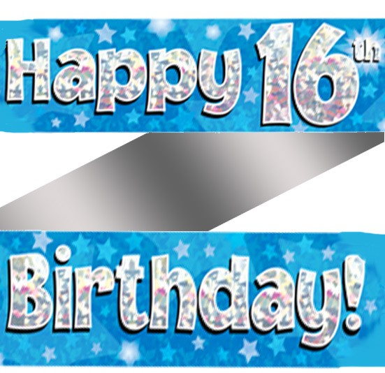 Buy Holographic Happy 16th Birthday Banner