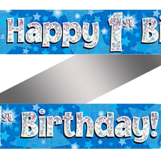 Buy Holographic Happy 1st Birthday Banner