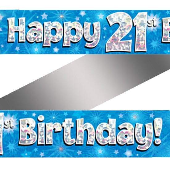 Buy Holographic Happy 21st Birthday Banner
