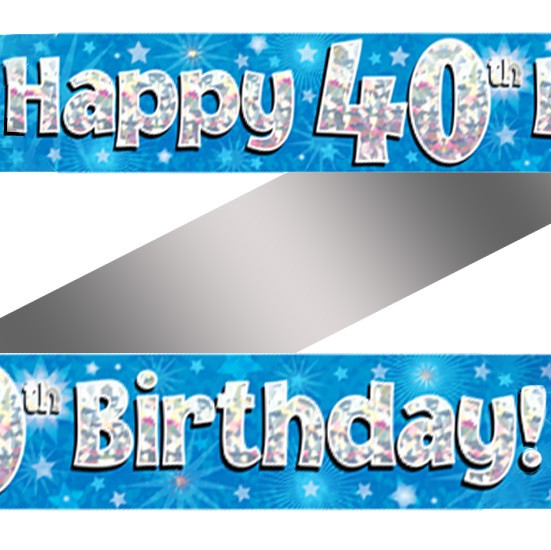 Holographic Happy 40th Birthday Banner