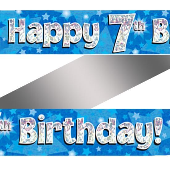 Holographic Happy 7th Birthday Banner   Buy Helium ...
