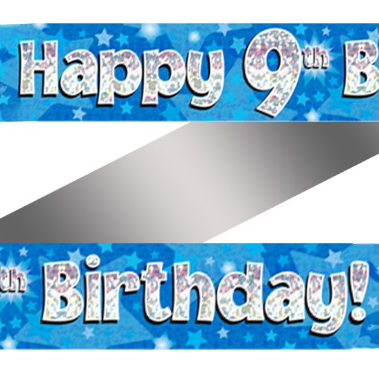 Holographic Happy 9th Birthday Banner