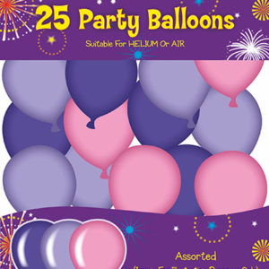 buy Assorted Party Balloons Pack 25 (Purple, Lilac, Pink)