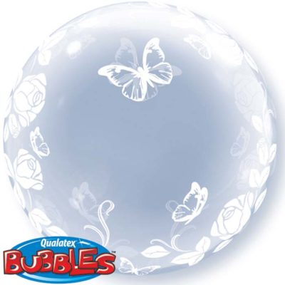 buy Qualatex Bubble Elegant Roses & Butterflies