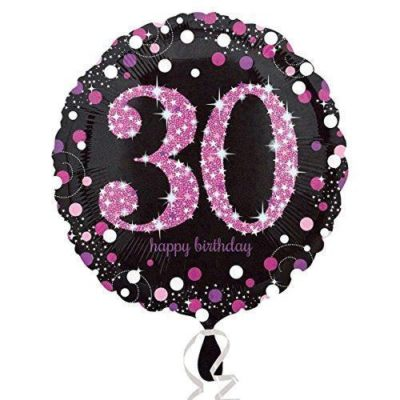 buy 30th Pink and Black Foil Balloon