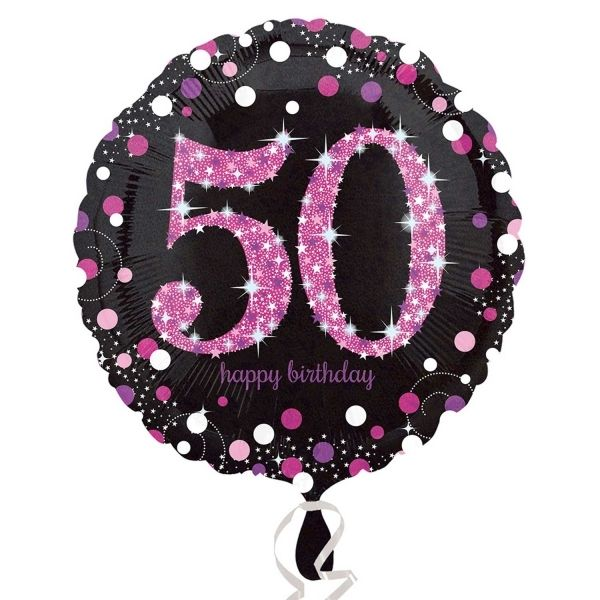Buy 50th Pink And Black Foil Balloon