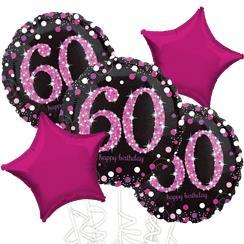 60th Birthday Pink Sparkling Celebration Balloon